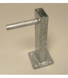 Centreerset steun enkel wiel voor kokerhoogte 60 mm met ingelaste as Ø 20 mm.
