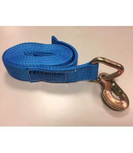 Lierband nylon blauw 5000kg met triangel ooghaak 5,5 mtr.